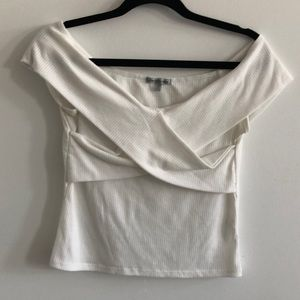 Charlotte Russe white off the shoulder crop top